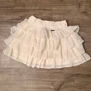 Abercrombie Cream Ruffle Skirt